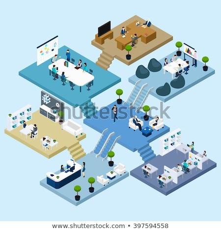 reception · sala · isometrica · 3D · elemento · informazioni - foto d'archivio © studioworkstock