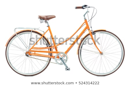 Stylish womens orange bicycle isolated on white Stock photo © vlad_star