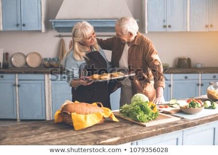 dulce · pareja · de · ancianos · sol · vacaciones - foto stock © is2