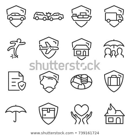 Tulajdon biztosítás ikonok összes kár szerencsétlenség Stock fotó © sahua
