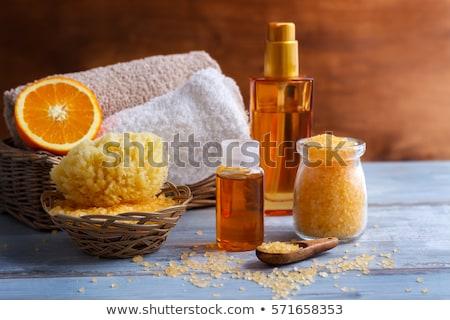 Stock fotó: Fürdő · egészségügy · kézzel · készített · olajbogyó · törölköző · fa · deszka