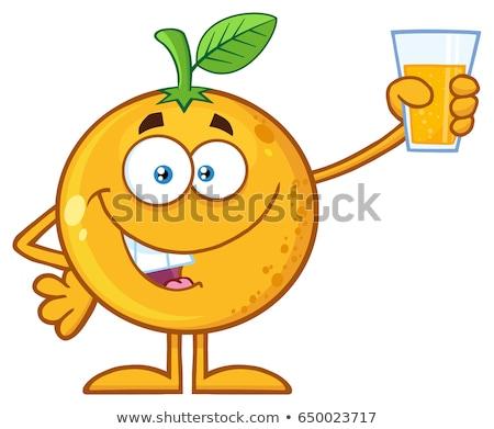 Pomarańczy maskotka cartoon charakter szkła Zdjęcia stock © hittoon