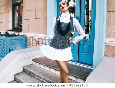 улыбающаяся · женщина · случайный · одежды · очки · видение - Сток-фото © feedough