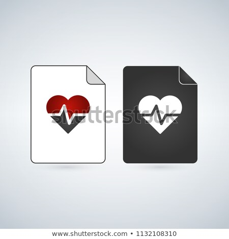 Medical Document file vector icon with heart and beat. flat sign for mobile concept and web design.  Stock photo © kyryloff