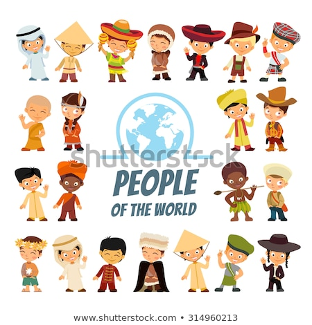 Avatars people of various nationalities in traditional costumes  Stock photo © NikoDzhi