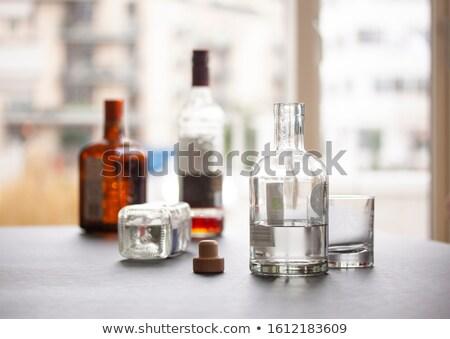 Pusty butelek napoje trzy biały wina Zdjęcia stock © magraphics