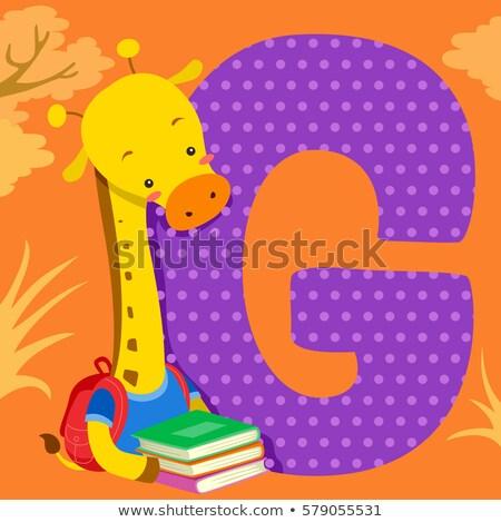 Alphabet carrelage girafe livres illustration Photo stock © lenm