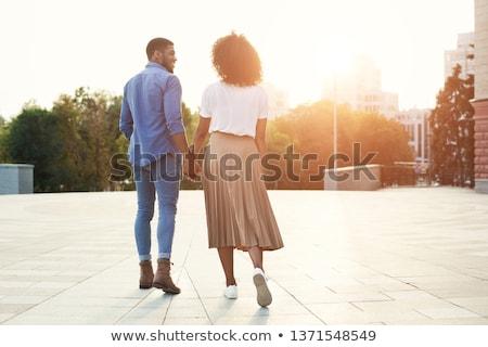 férfi · nő · kéz · a · kézben · sétál · ősz · park - stock fotó © kzenon