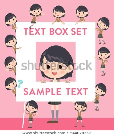 schoolmeisje · bruin · ingesteld · glimlach - stockfoto © toyotoyo