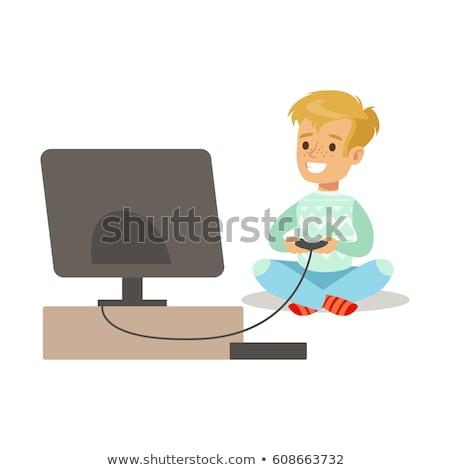 молодым · человеком · счастливым · компьютерная · игра · победа · домой · кулаком - Сток-фото © elnur