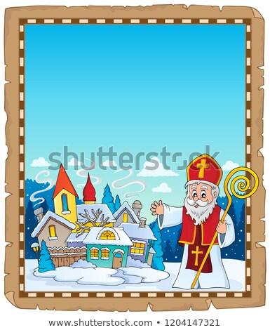 Saint Nicholas topic parchment 4 Stock photo © clairev