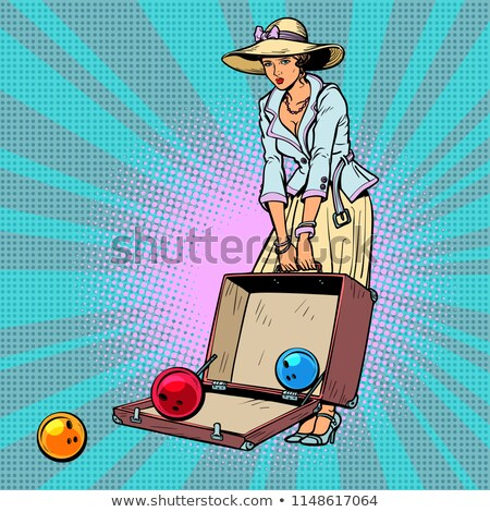 bowling ball. Woman with suitcase Stock photo © rogistok