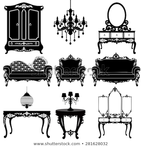 Interior scene with armchair and candelabra Stock photo © ElaK