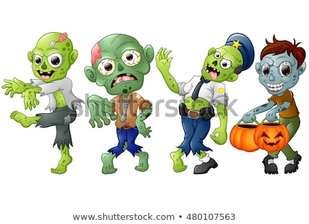 gülen · karikatür · zombi · örnek · erkekler · beyin - stok fotoğraf © cthoman
