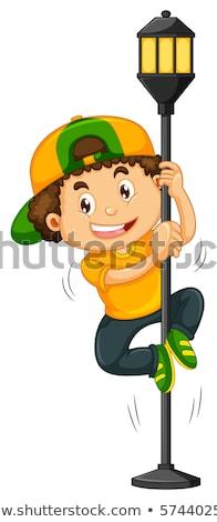 Menino escalada para cima lâmpada postar ilustração Foto stock © colematt