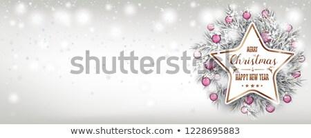 Joyeux Noël congelés chutes de neige rose cuivre Photo stock © limbi007