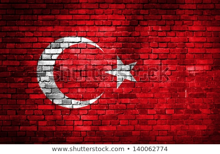 Turkey flag on brickwall stock photo © colematt