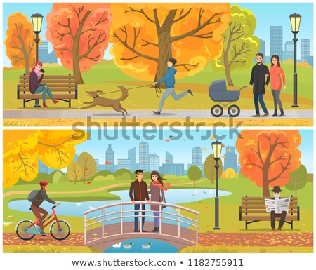 Stock photo: Couple with Pram Walking in Autumn Park Vector