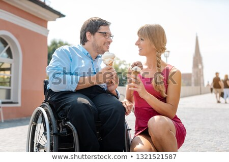 инвалидов человека друга мороженым города город Сток-фото © Kzenon