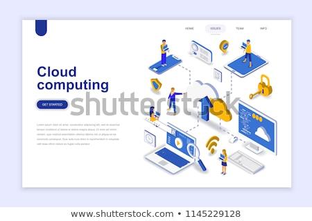 Cloud computing security concept landing page. Stock photo © RAStudio