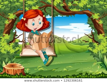 fiatal · lány · hinta · természet · madár · öröm · barátság - stock fotó © bluering