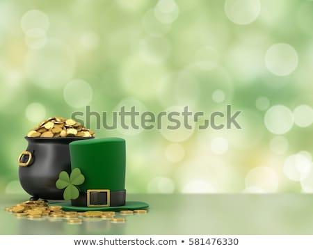 día · de · san · patricio · verde · completo · olla · moneda · de · oro · cerveza - foto stock © grafvision