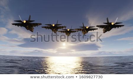 Leger vliegtuig vliegen oceaan illustratie hemel Stockfoto © colematt