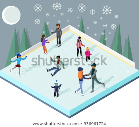 Stok fotoğraf: Winter Active People Wintertime Hobbies Set Vector