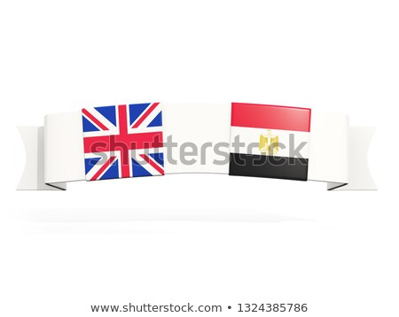 banner with two square flags of united kingdom and egypt stock photo © mikhailmishchenko