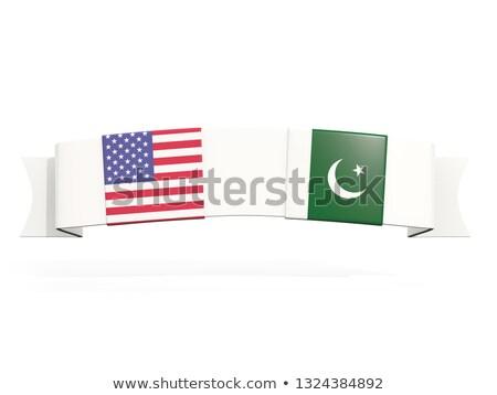 Afiş iki kare bayraklar Amerika Birleşik Devletleri Pakistan Stok fotoğraf © MikhailMishchenko