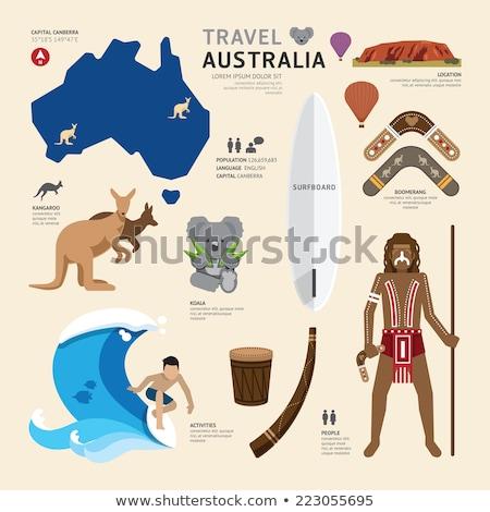 Ausztrália ikonok utazás szett ausztrál izolált Stock fotó © netkov1