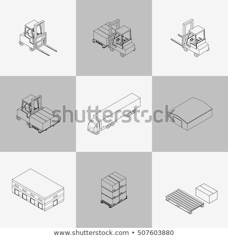 delivery outline isometric set stock photo © netkov1