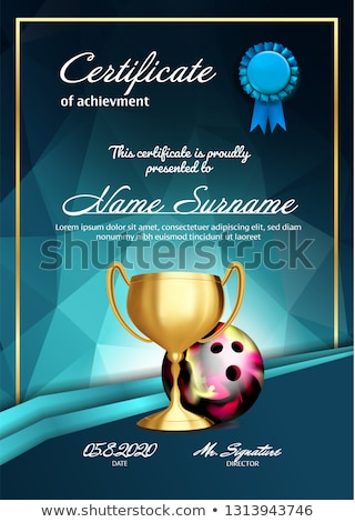 Bowling Certificate Diploma With Golden Cup Vector. Sport Graduation. Elegant Document. Luxury Paper Stock photo © pikepicture