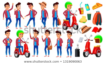 asian boy set vector high school child fast delivery service scooter for presentation invitatio stock photo © pikepicture