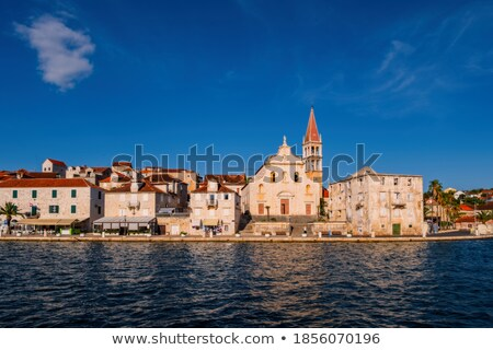 Town of Milna harbor and historic skyline view stock photo © xbrchx