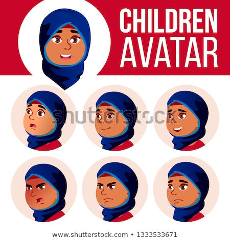 Árabe muçulmano menina avatar conjunto criança Foto stock © pikepicture