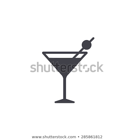 Cocktail glas icon stencil Blauw Geel Stockfoto © angelp