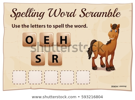 Spelling word scramble game for word horse Stock photo © colematt