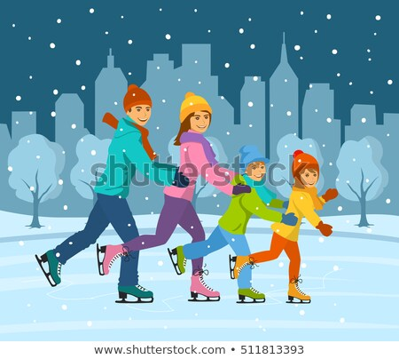 Ice Skating of Mother and Child, Winter Cityscape Stock photo © robuart
