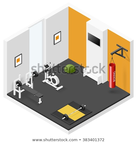 Vector isometric boxing gym interior stock photo © tele52