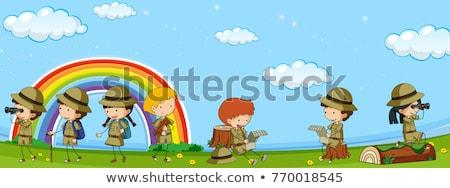 Veel kinderen verkenner uniform park Stockfoto © colematt