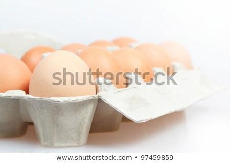 Dez frango ovos cartão recipiente preto Foto stock © marylooo