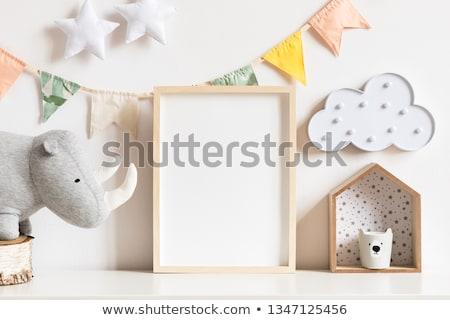 Rinoceronte quadro ilustração nuvens fundo arte Foto stock © bluering
