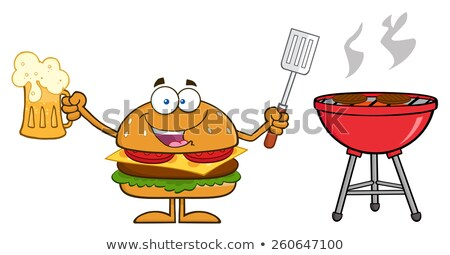 happy hamburger cartoon character holding a beer and bbq slotted spatula stock photo © hittoon