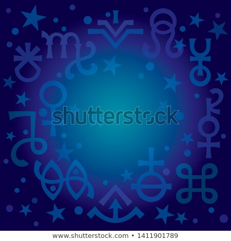 astrological diadem astrological signs and occult mystical symbols blueprint celestial pattern stock photo © glasaigh