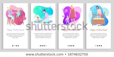 Mutlu annelik anne bebekler web sitesi ayarlamak Stok fotoğraf © robuart