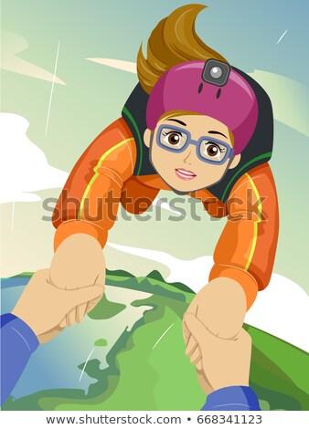 Teen Girl Sky Diving Guide Stock photo © lenm