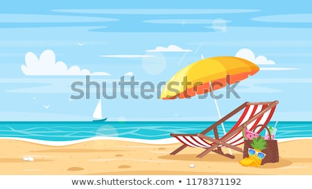 plage · tropicale · Caraïbes · île · Palm · abri - photo stock © fyletto