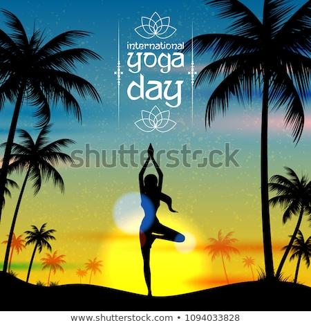 Uluslararası yoga gün örnek kadın dünya Stok fotoğraf © vectomart