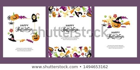 boldog · halloween · üdvözlőlap · szöveg · boszorkány · seprű - stock fotó © marish